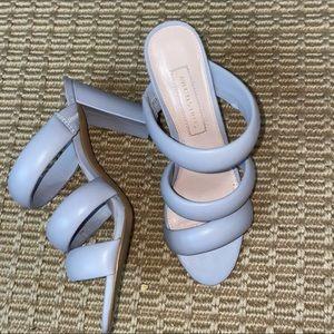 AVEC LES FILLES    grey silver mule sandals size 7